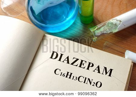 Paper with Diazepam and test tubes.
