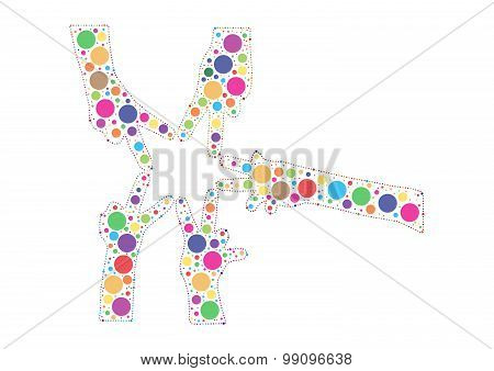 Multicolored hand shaped dots