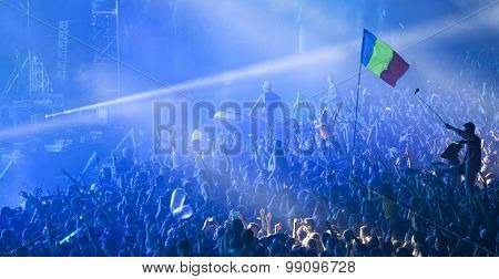 Cluj-Napoca, Romania - August 2, 2015: Crowd of people enjoy David Guetta live concert at the Untold Festival in the European Youth Capital city of Cluj Napoca