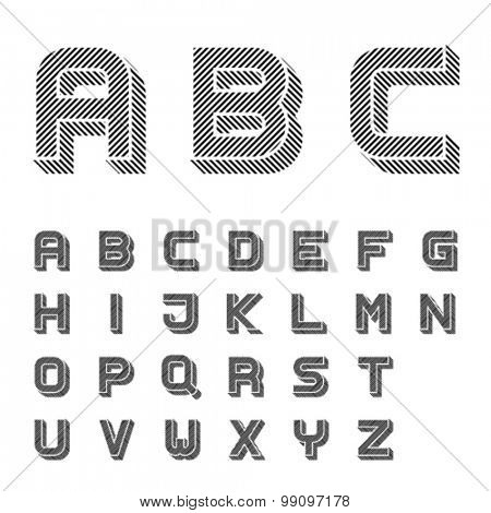 vector 3D black striped font alphabet letters