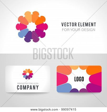 Abstract bright colorful communication logotype. Vector