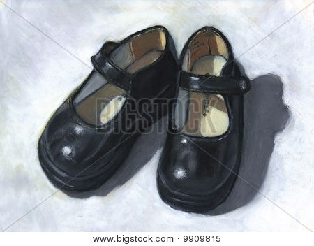 Painting of Small Black Shoes