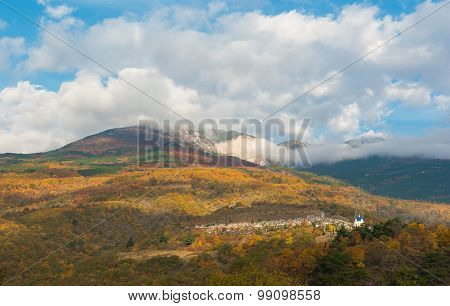 Autumnal landscape with view on Crimean mountains