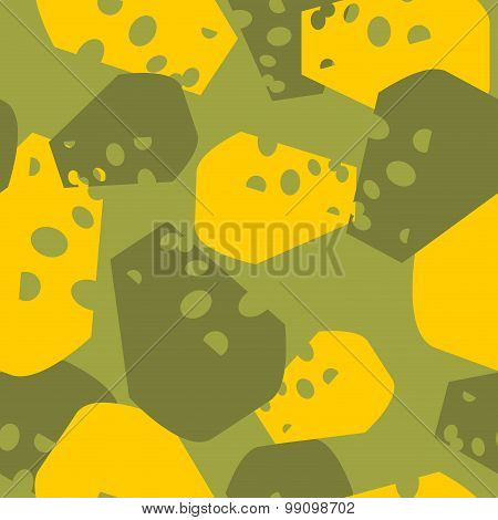 Military Camouflage Cheese. Cheesy Army Texture For Clothing. Protective Seamless Pattern.