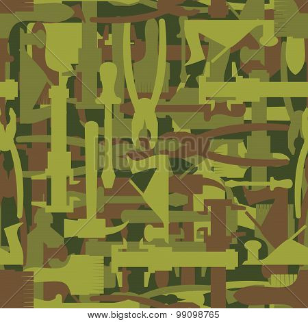 Army Pattern Tool. Military Camouflage Texture Vector Of Hammer, Paintbrush And Screwdriver. Hunter,