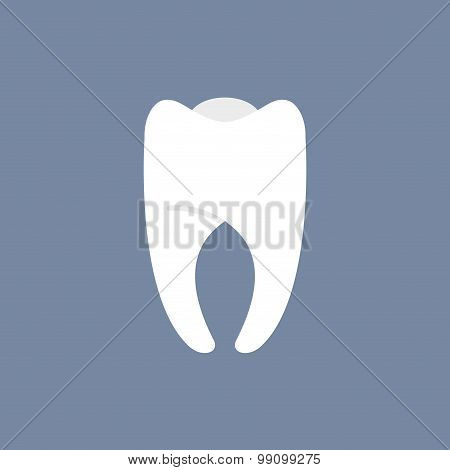 White Tooth On A Dark Background. Vector Illustration For Dentistry.