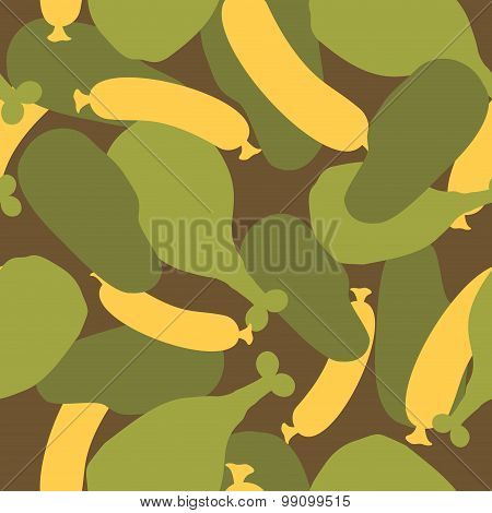 Military Camouflage Food. Meat Texture For Army Clothing. Hunter, Soldiers Protective Seamless Patte