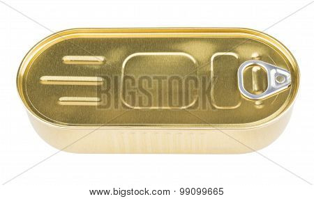 Oblong Metal Cans Fish With Ring Opening Isolated On White