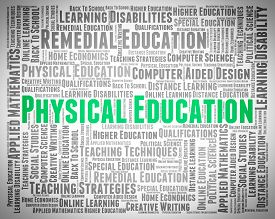 picture of physical education  - Physical Education Representing Gym Class And Word - JPG