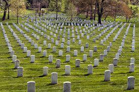 stock photo of headstones  - Headstones at the Arlington National Cemetery in Virginia USA - JPG