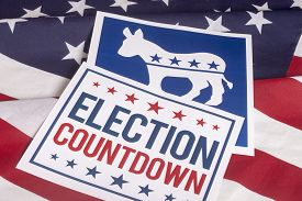 stock photo of countdown  - Democrat election Countdown on textured American flag - JPG