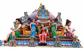 pic of hindu  - Hindu God Statues At A Hindu Temple in isolated - JPG