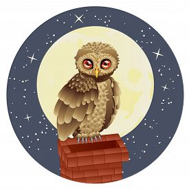 pic of goodnight  - Cute brown owl and big yellow moon with stars - JPG