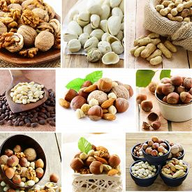 picture of pine nut  - collage mix nuts  - JPG