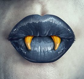 foto of creativity  - Vampire creativity concept as the lips of a zombie character with pencils shaped as pointy fangs represeting strategic creative thinking in marketing and advertising strategy or a metaphor for halloween creative thinking - JPG