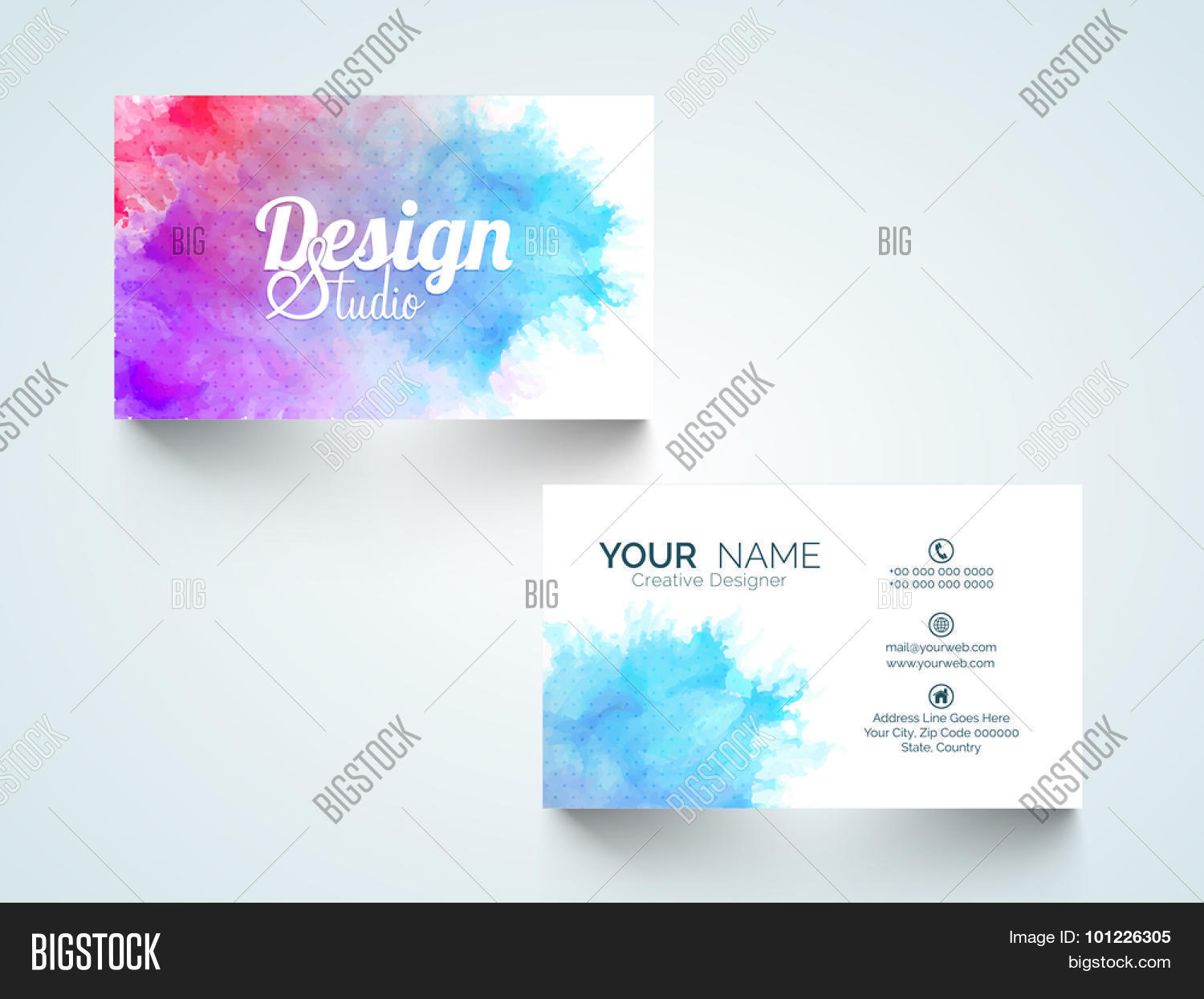 Stylish horizontal business card vector photo bigstock stylish horizontal business card visiting card or name card with colorful splash magicingreecefo Images