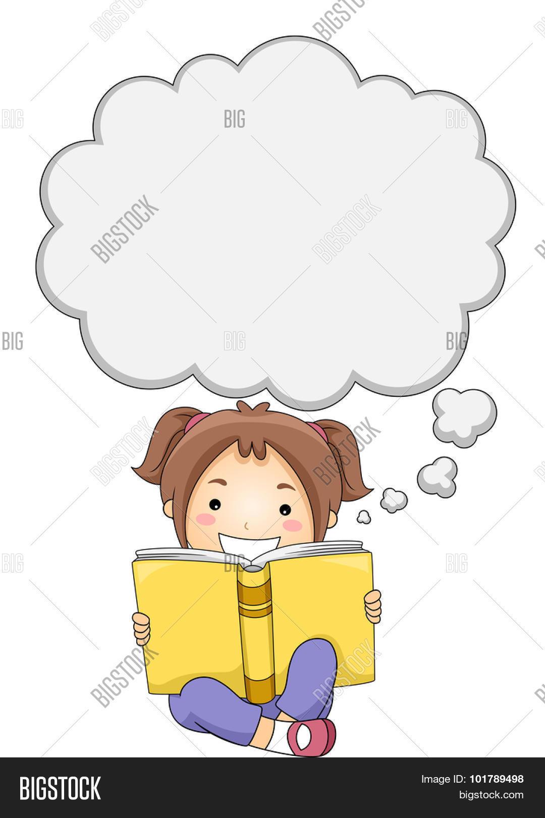 Illustration Little Girl Reading Vector & Photo   Bigstock