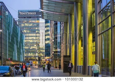 LONDON, UK - 7 SEPTEMBER, 2015: Canary Wharf, upper bank street view in the night with cars and taxi