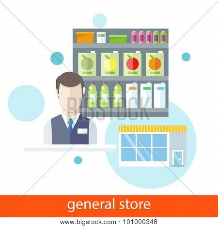 Shelfs with Food. General Store