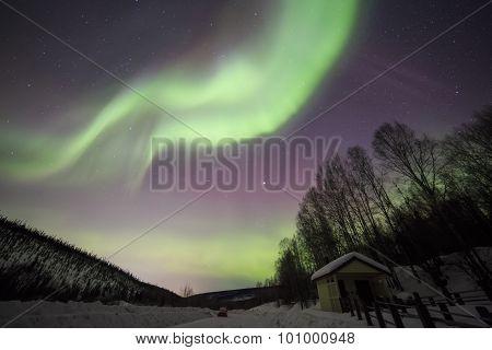 House, Aurora, Night Sky At Alaska, Fairbanks