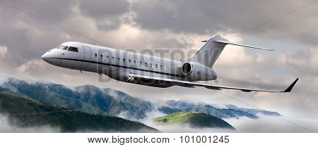 Flying private jet