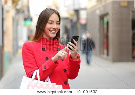 Shopper Buying Online On The Smart Phone