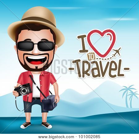 3D Realistic Tourist Man Character Wearing Photographer Outfit