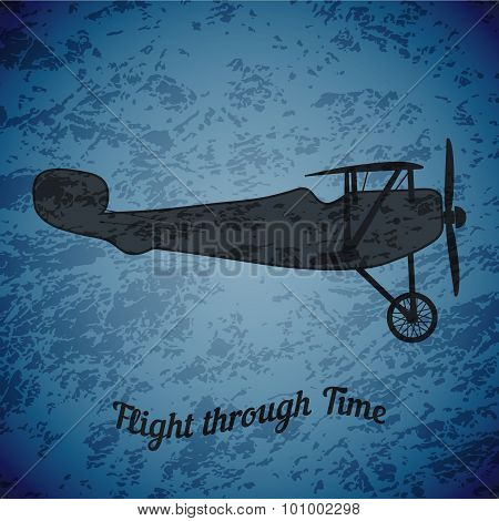Vector retro airplane on blue grunge background highlight