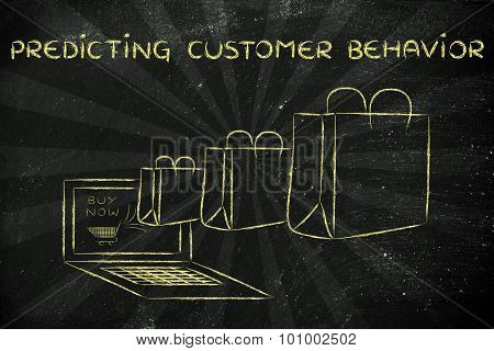 Predicting Online Customer Behavior (illustration Of Bags Coming Out Of A Laptop)