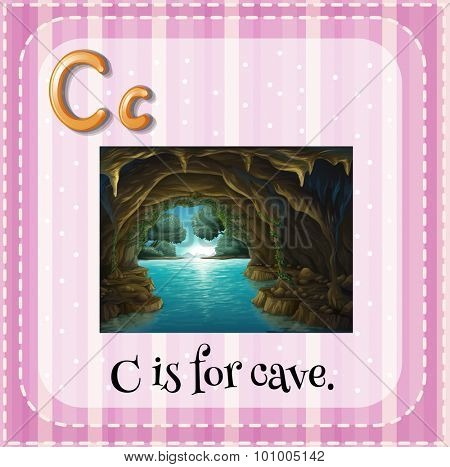 Flashcard letter C is for cave illustration