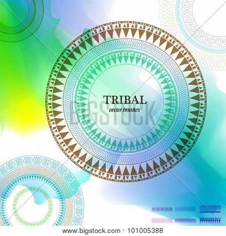 Geometric circle element made in vector with set of elements to make your  own brush. Vintage decorative elements. Watercolor background. Islam, Arabic, Indian, Tribal motifs.