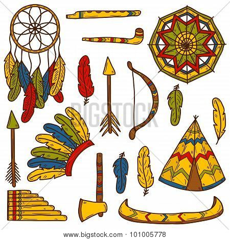 Set of cartoon hand drawn objects on native american theme: tomahawk, feather, canoe, bow, arrow, hat, mandala, flute, pipe, dreamcatcher. Native american concept for your design