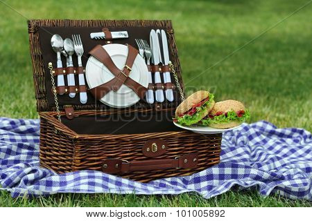 Wicker picnic basket, tasty sandwiches  and plaid on green grass, outdoors