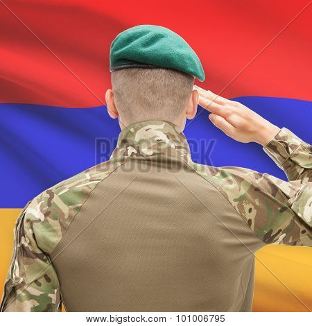 National Military Forces With Flag On Background Conceptual Series - Armenia