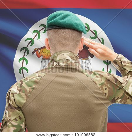 National Military Forces With Flag On Background Conceptual Series - Belize