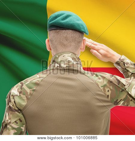 National Military Forces With Flag On Background Conceptual Series - Benin