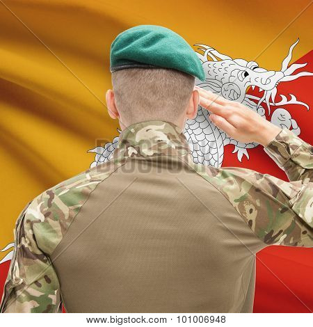 National Military Forces With Flag On Background Conceptual Series - Bhutan