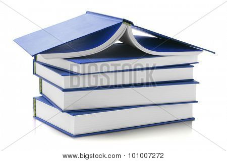 Stack of Blue Hard Cover Books on White Background