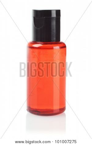 Orange Plastic Cosmetic Bottle on White Background