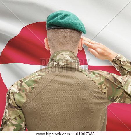 National Military Forces With Flag On Background Conceptual Series - Greenland