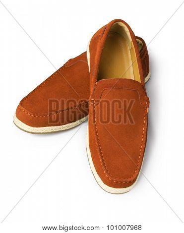 Brown Leather Casual Shoes for Men on White Background