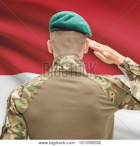 National Military Forces With Flag On Background Conceptual Series - Monaco