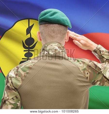 National Military Forces With Flag On Background Conceptual Series - New Caledonia