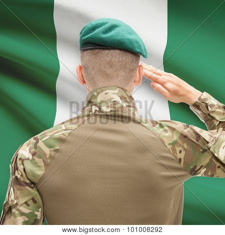 National Military Forces With Flag On Background Conceptual Series - Nigeria