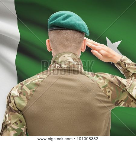 National Military Forces With Flag On Background Conceptual Series - Pakistan