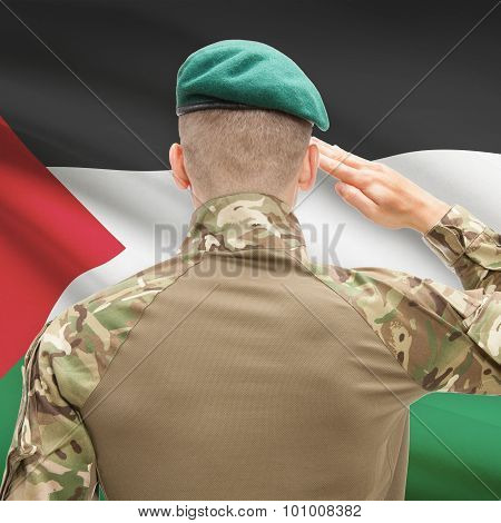 National Military Forces With Flag On Background Conceptual Series - Palestine