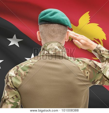 National Military Forces With Flag On Background Conceptual Series - Papua New Guinea