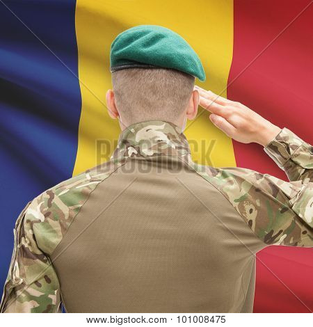 National Military Forces With Flag On Background Conceptual Series - Romania