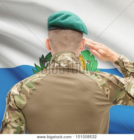 National Military Forces With Flag On Background Conceptual Series - San Marino