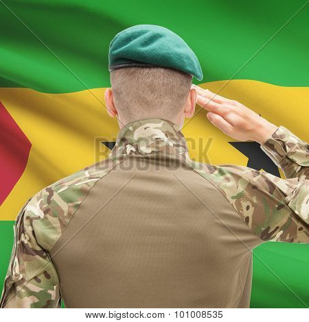 National Military Forces With Flag On Background Conceptual Series - Sao Tome And Principe